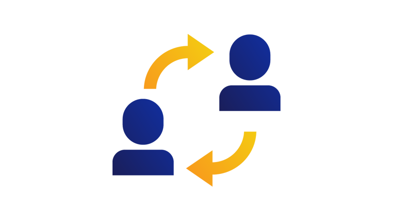 Two arrows connecting two people in a circular shape.