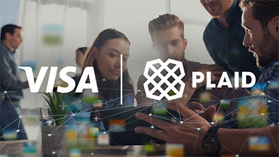 Visa and Plaid logos over an image of people working together at a desk looking at computers.